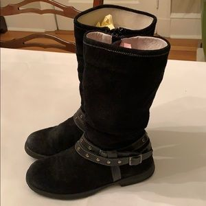 Girl's Black Suede Boots Size 4